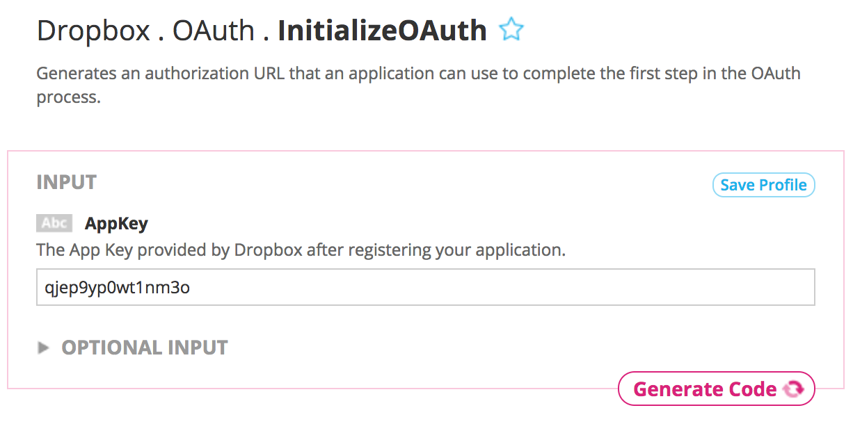 Supplying inputs needed for Dropbox Initialize OAuth