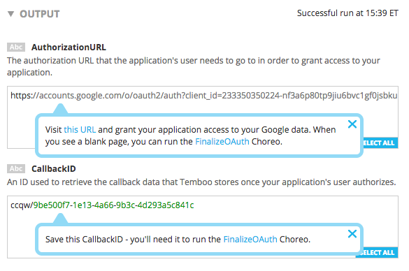 Google OAuth Outputs