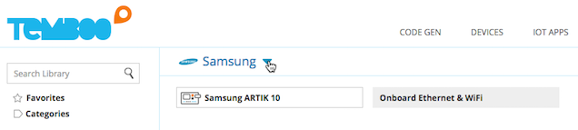 Selecting the Samsung ARTIK 10